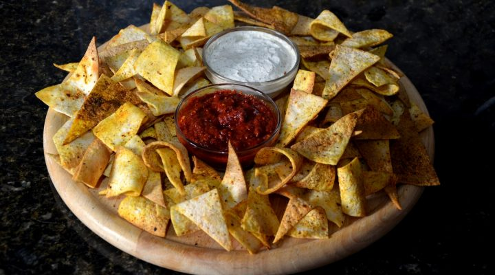 Delicious Homemade Tortilla Chips With Two Spicy Dips